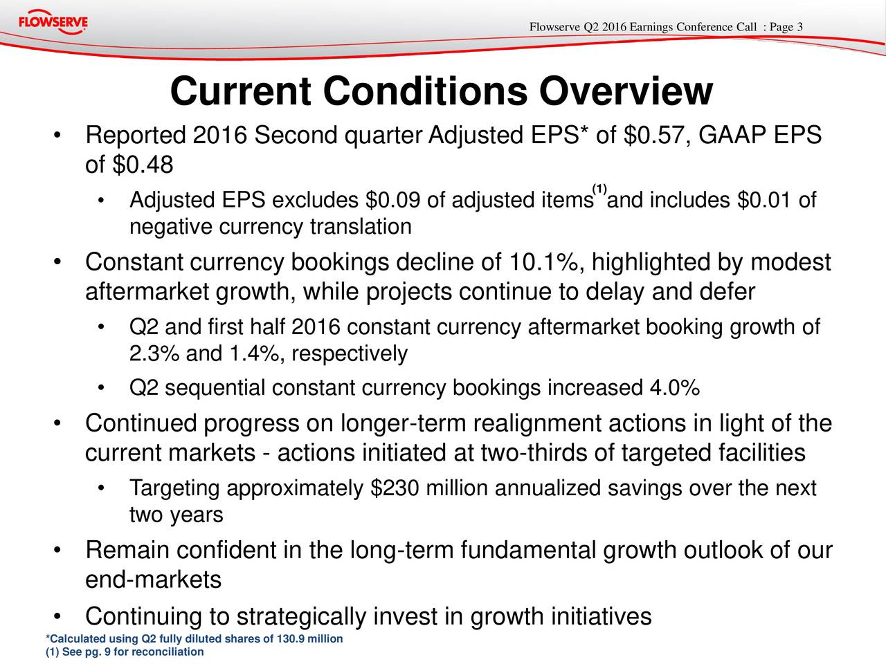 Current Conditions Overview Reported 2016 Second quarter Adjusted EPS* of $0.57, GAAP EPS of $0.48 Adjusted EPS excludes $0.09 of adjusted items and includes $0.01 of negative currency translation Constant currency bookings decline of 10.1%, highlighted by modest aftermarket growth, while projects continue to delay and defer Q2 and first half 2016 constant currency aftermarket booking growth of 2.3% and 1.4%, respectively Q2 sequential constant currency bookings increased 4.0% Continued progress on longer-term realignment actions in light of the current markets - actions initiated at two-thirds of targeted facilities Targeting approximately $230 million annualized savings over the next two years Remain confident in the long-term fundamental growth outlook of our end-markets Continuing to strategically invest in growth initiatives *Calculated using Q2 fully diluted shares of 130.9 million