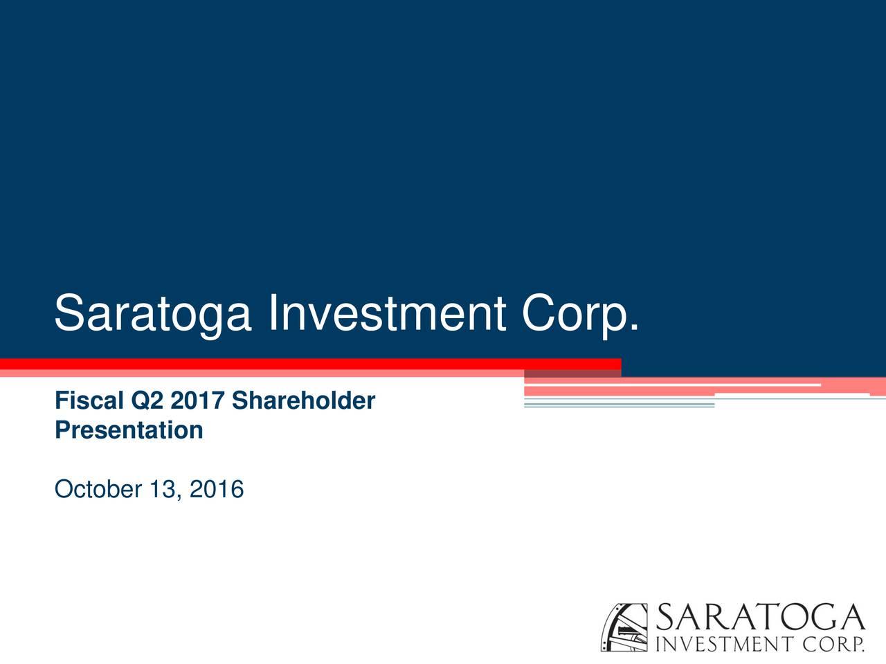 Fiscal Q2 2017 Shareholder Presentation October 13, 2016