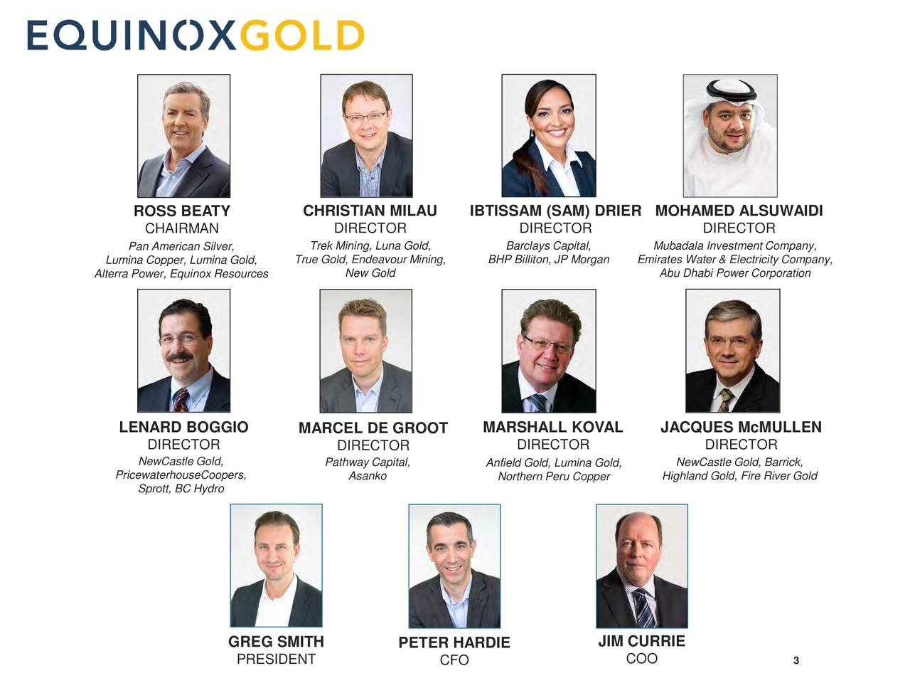 ROSS BEATY CHRISTIAN MILAU IBTISSAM (SAM) DRIER MOHAMED ALSUWAIDI CHAIRMAN DIRECTOR DIRECTOR DIRECTOR Pan American Silver, Trek Mining, Luna Gold, Barclays Capital, Mubadala Investment Company, Lumina Copper, Lumina Gold,rue Gold, Endeavour Mining,P Billiton, JP MorgEmirates Water & Electricity Company, Alterra Power, Equinox Resources New Gold Abu Dhabi Power Corporation LENARD BOGGIO MARCEL DE GROOT MARSHALL KOVAL JACQUES McMULLEN DIRECTOR DIRECTOR DIRECTOR DIRECTOR NewCastle Gold, Pathway Capital, Anfield Gold, Lumina Gold,NewCastle Gold, Barrick, PricewaterhouseCoopers, Asanko Northern Peru Copper Highland Gold, Fire River Gold Sprott, BC Hydro GREG SMITH PETER HARDIE JIM CURRIE PRESIDENT CFO COO 3