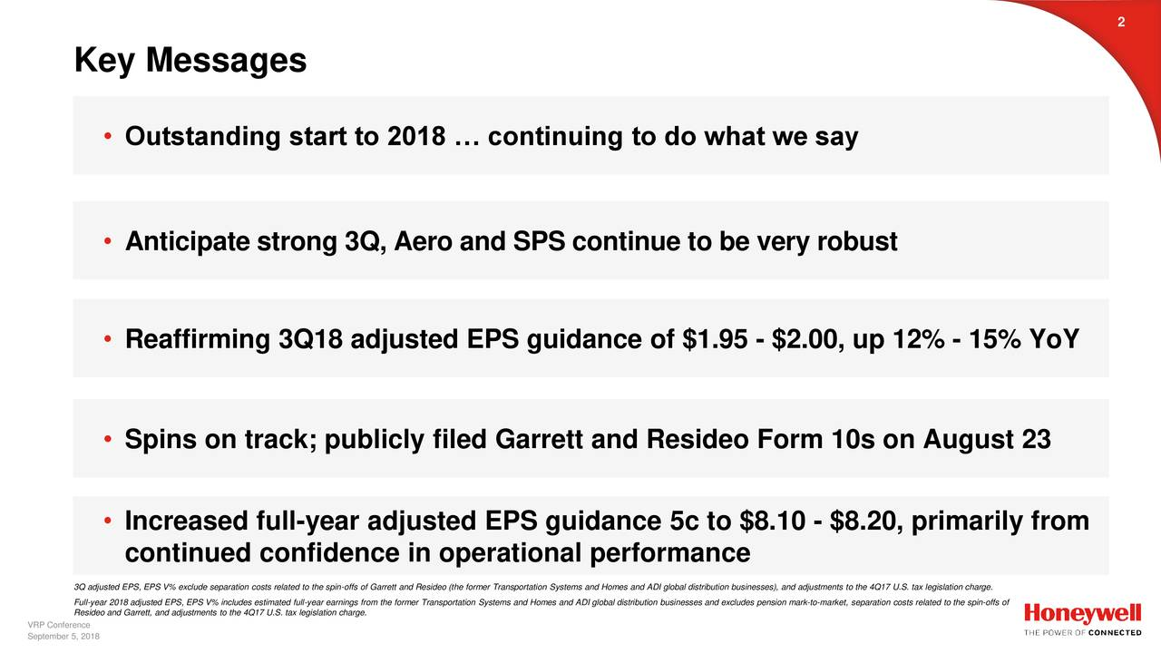 Key Messages • Outstanding start to 2018 … continuing to do what we say • Anticipate strong 3Q, Aero and SPS continue to be very robust • Reaffirming 3Q18 adjusted EPS guidance of $1.95 - $2.00, up 12% - 15% YoY • Spins on track; publicly filed Garrett and Resideo Form 10s on August 23 • Increased full-year adjusted EPS guidance 5c to $8.10 - $8.20, primarily from continued confidence in operational performance Full-year 2018 adjusted EPS, EPS V% includes estimated full-year earnings from the former Transportation Systems and Homes and ADI global distribution businesses and excludes pension mark-to-market, separation costs related to the spin-offs of Resideo and Garrett, and adjustments to the 4Q17 U.S. tax legislation charge. September 5, 2018