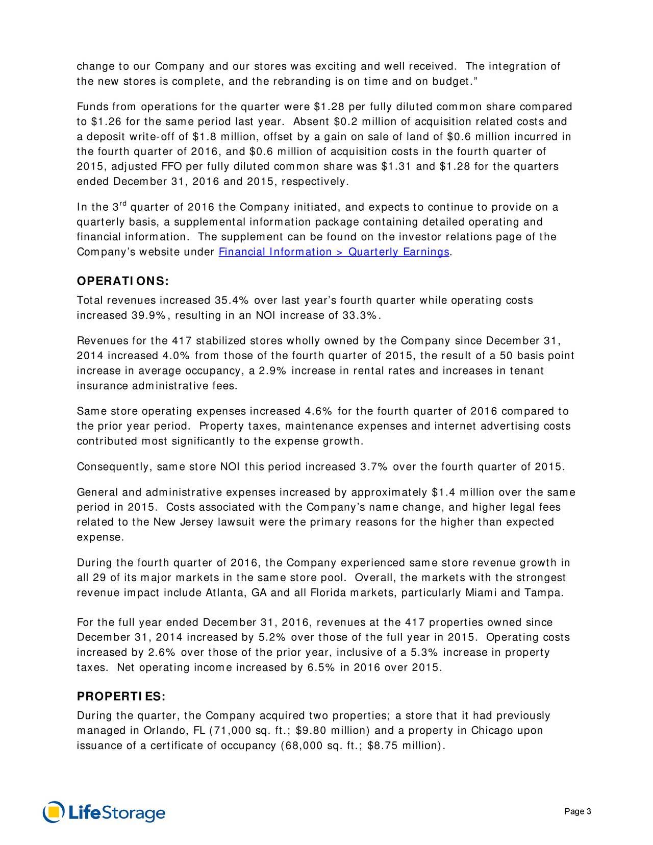 Life Storage, Inc. 2016 Q4 - Results