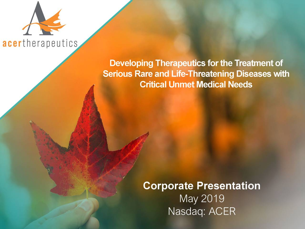 Acer Therapeutics (ACER) Presents At UBS Global Healthcare Conference - Slideshow