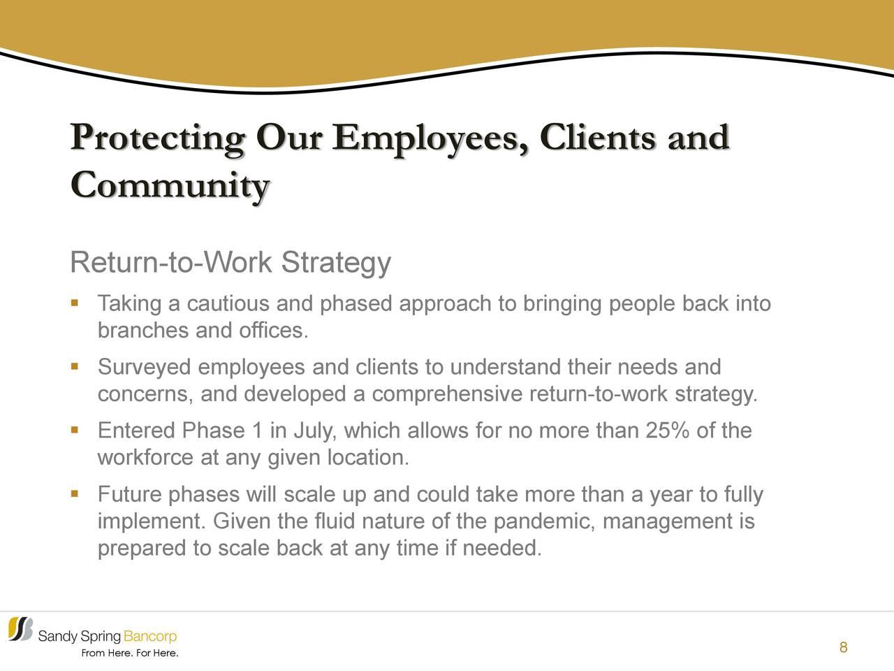 Protección de nuestros empleados, clientes y