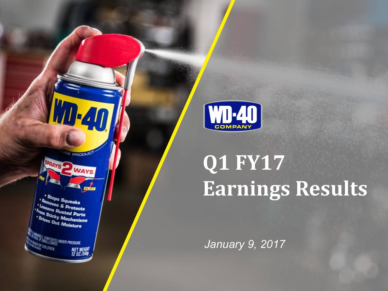 Earnings Results January 9, 2017