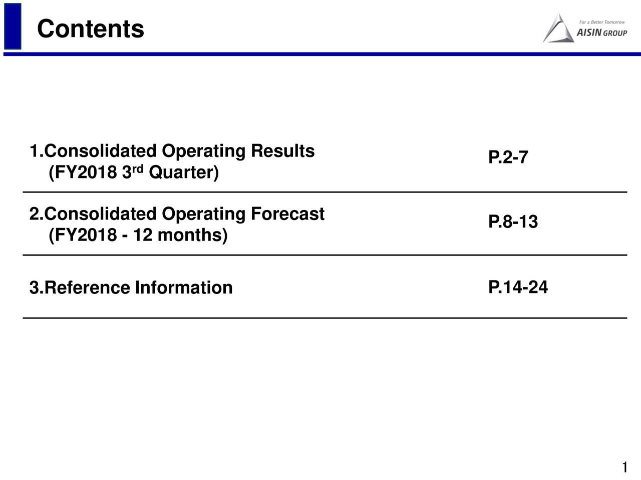 1.Consolidated Operating Results P.2-7 (FY2018 3 Quarter) 2.Consolidated Operating Forecast P.8-13 (FY2018 - 12 months) P.14-24 3.Reference Information