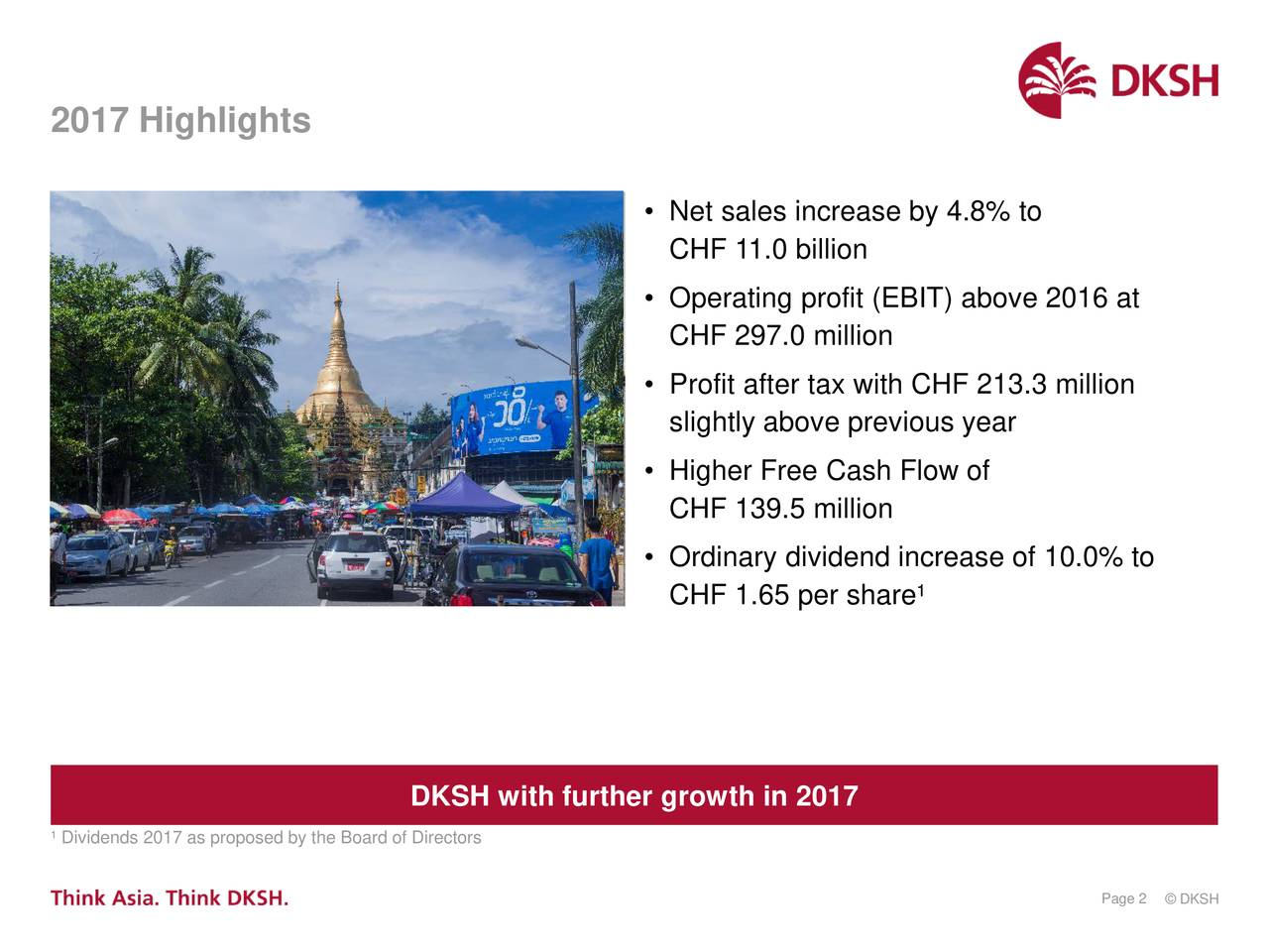 • Net sales increase by 4.8% to CHF 11.0 billion • Operating profit (EBIT) above 2016 at CHF 297.0 million • Profit after tax with CHF 213.3 million slightly above previous year • Higher Free Cash Flow of CHF 139.5 million • Ordinary dividend increase of 10.0% to CHF 1.65 per share¹ DKSH with further growth in 2017 ¹ Dividends 2017 as proposed by the Board of Directors Page 2© DKSH