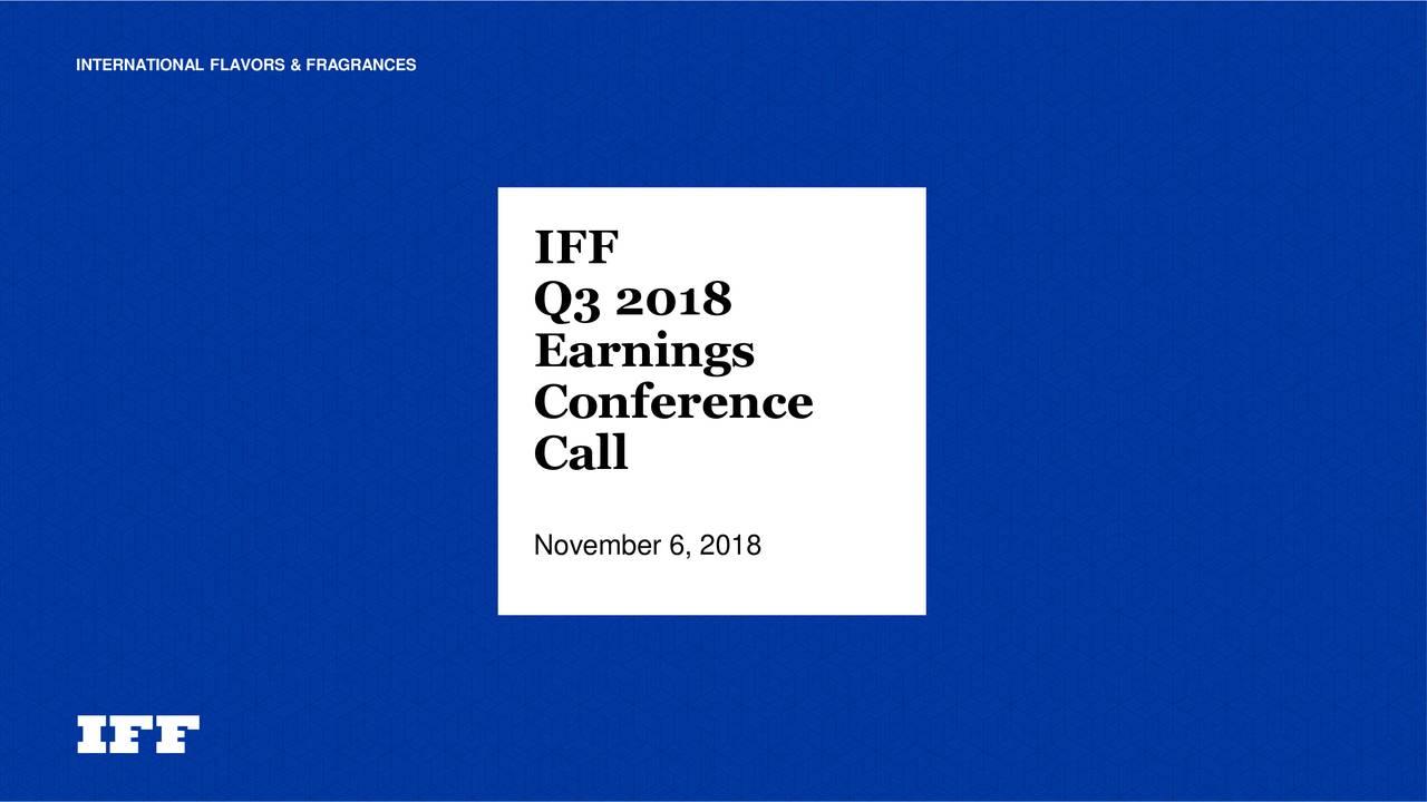 International Flavors & Fragrances Inc  2018 Q3 - Results