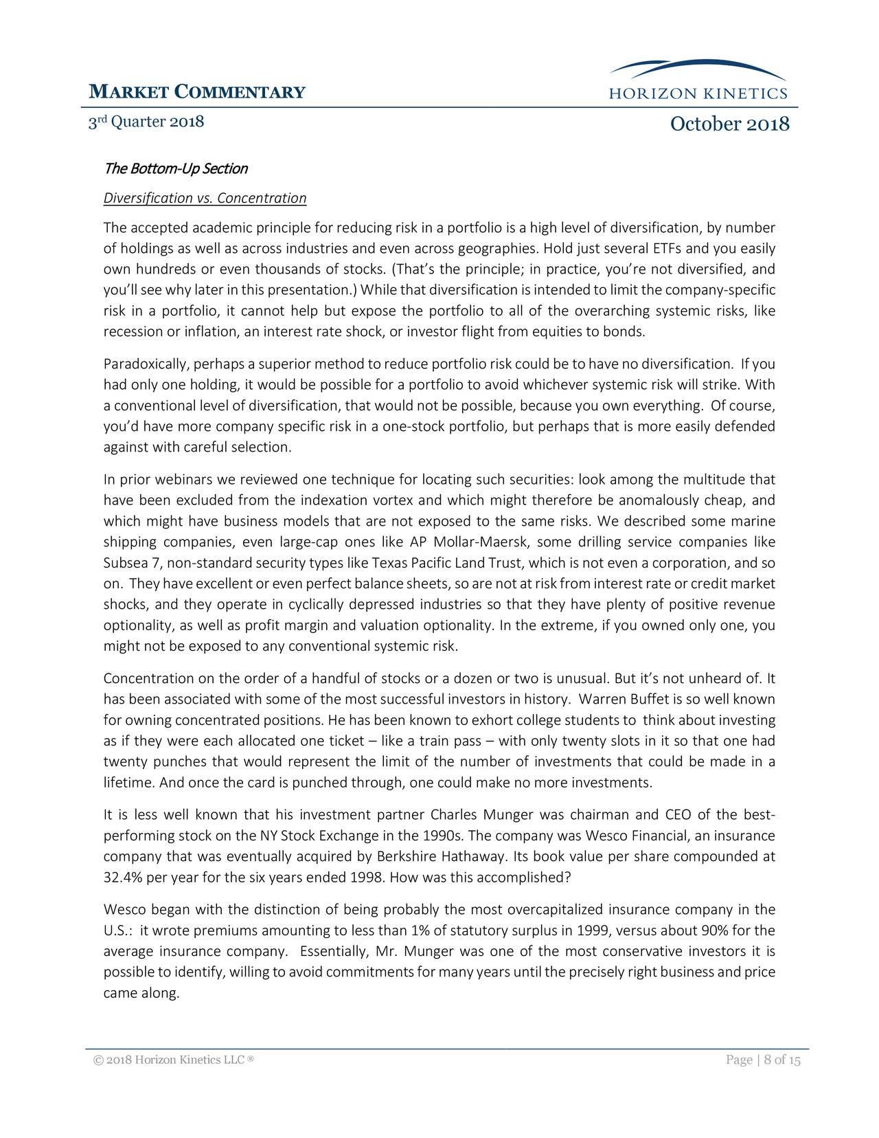 Horizon Kinetics Commentary Q3 2018 - CACI International Inc