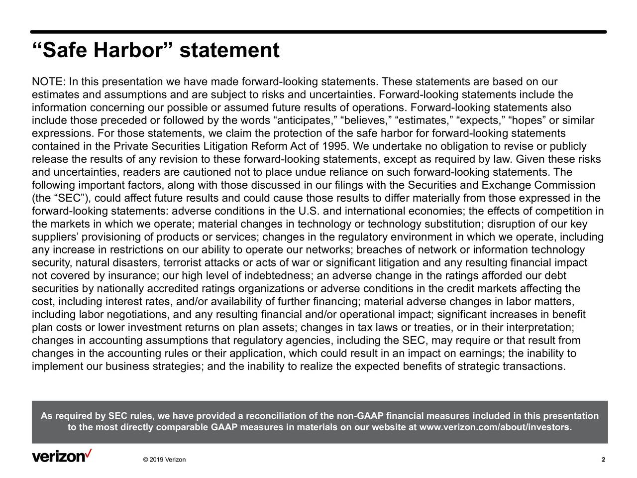 """Safe Harbor"" statement"