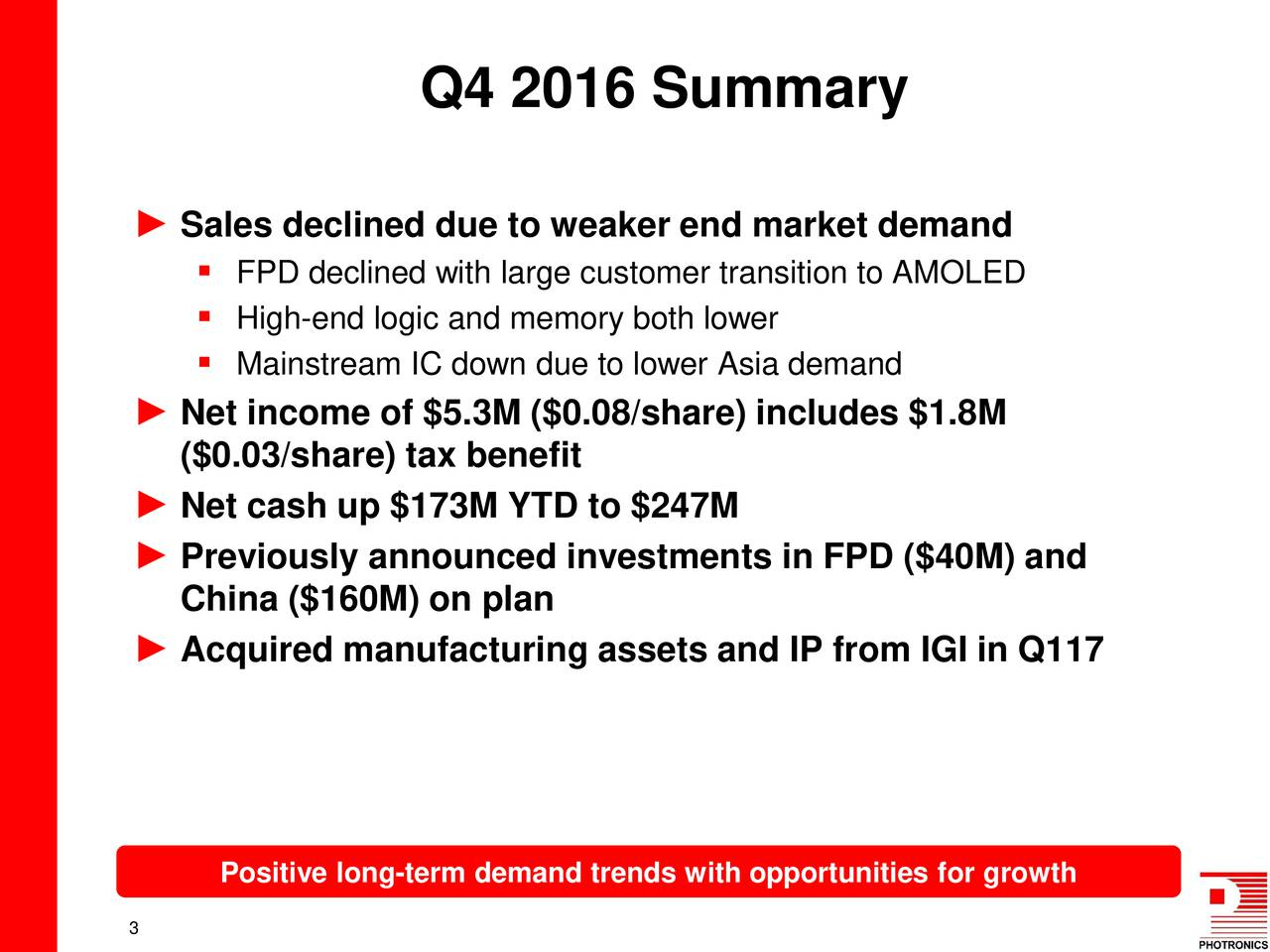 Sales declined due to weaker end market demand FPD declined with large customer transition to AMOLED High-end logic and memory both lower Mainstream IC down due to lower Asia demand Net income of $5.3M ($0.08/share) includes $1.8M ($0.03/share) tax benefit Net cash up $173M YTD to $247M Previously announced investments in FPD ($40M) and China ($160M) on plan Acquired manufacturing assets and IP from IGI in Q117 Positive long-term demand trends with opportunities for growth 3