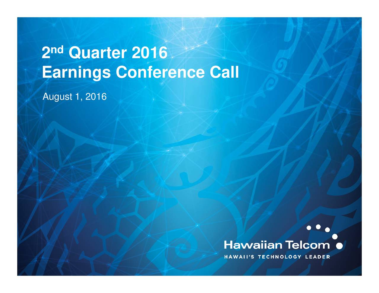 nd 2 Earnings Conference Call
