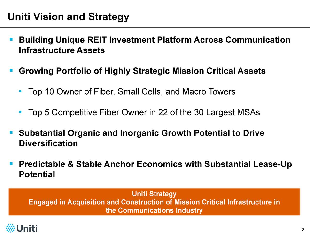 Uniti Strategy the Communications Industry Top 10opw5CerofeiiireFibelOewn,randM2oquisition and Construction of Mission Critical Infrastructure in BuIlfiaGtrni•ue A•sTfIlubitaethlolrabregAcntinliAo Uniti Vision and Strategy  