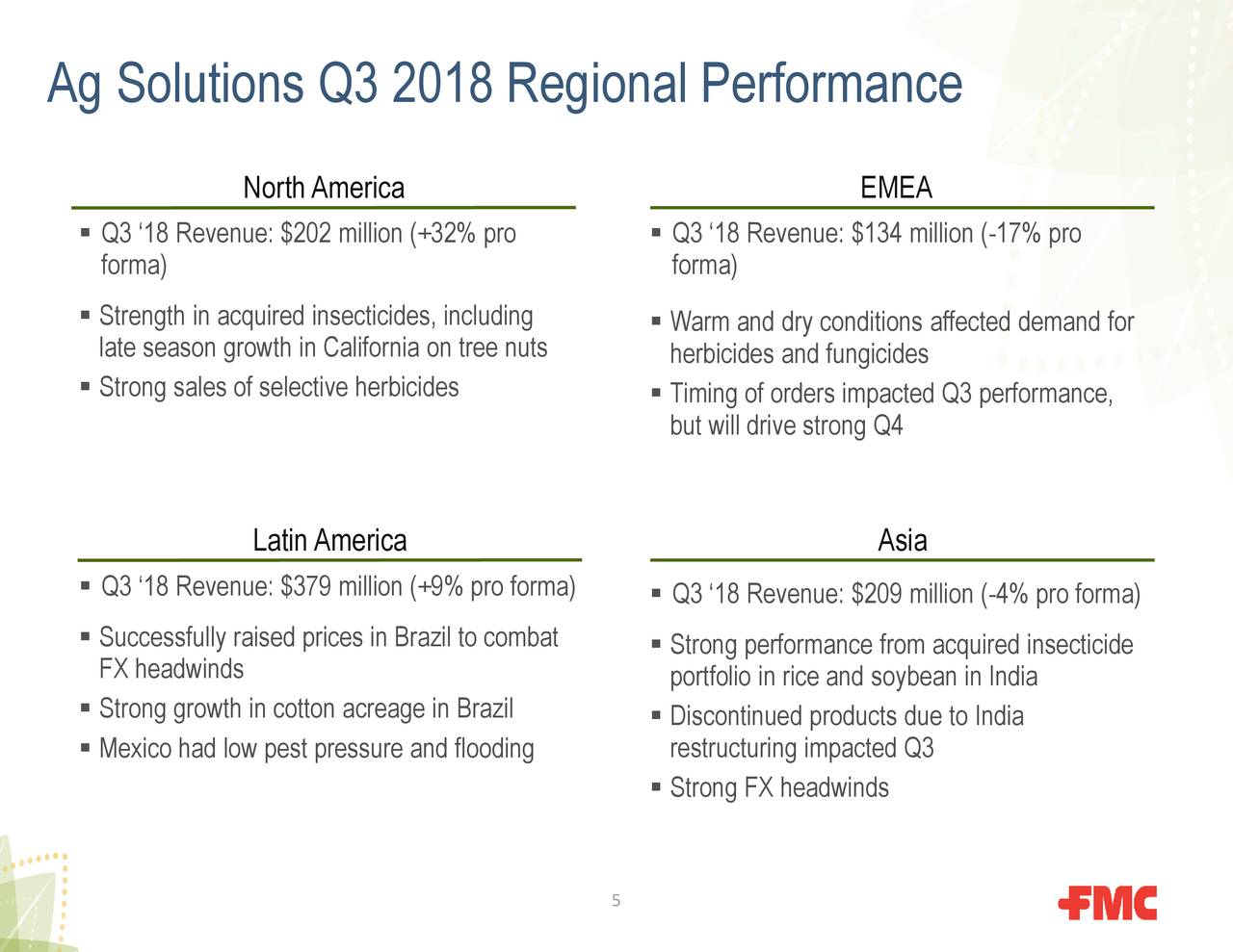 FMC Corporation 2018 Q3 - Results - Earnings Call Slides