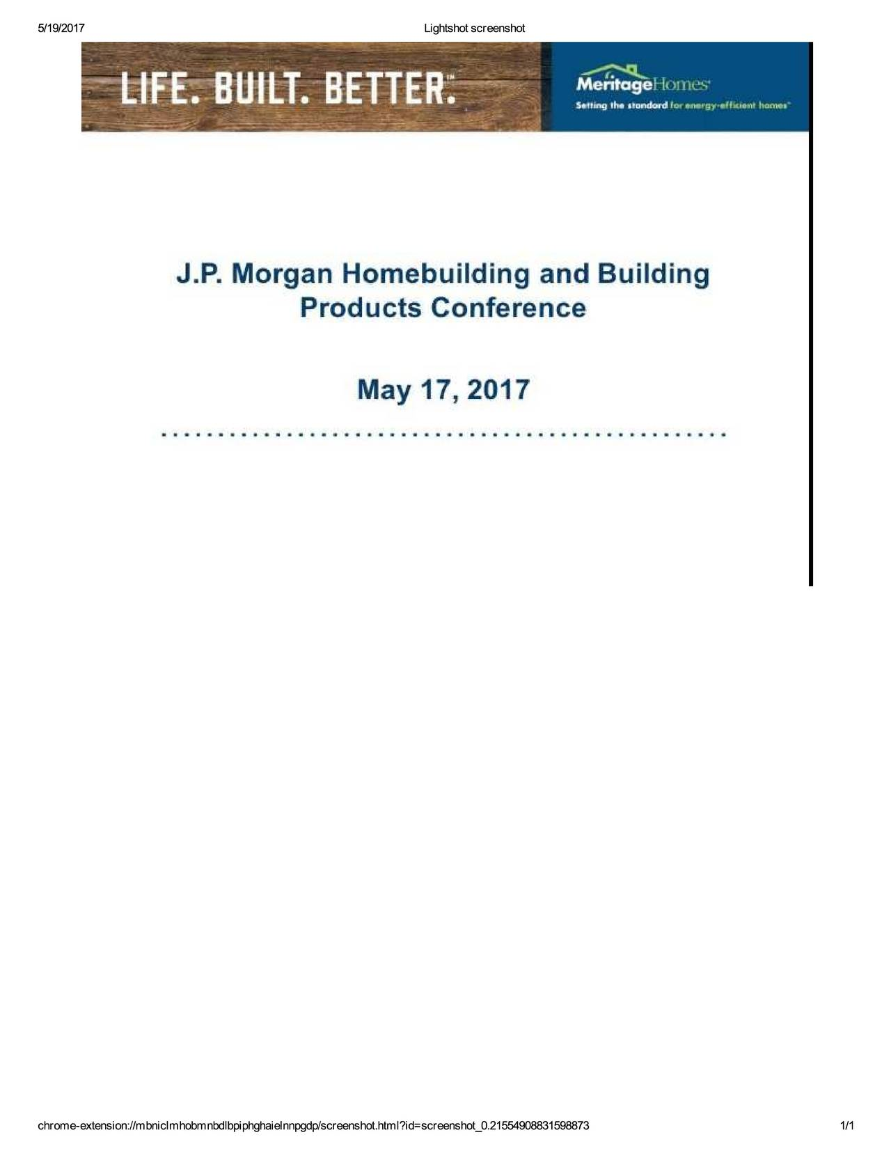 Meritage Homes Corporation (MTH) Presents At J.P. Morgan ... on