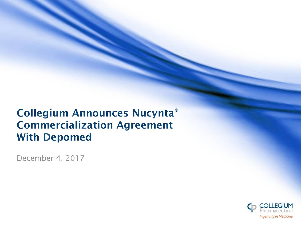 Commercialization Agreement With Depomed December 4, 2017