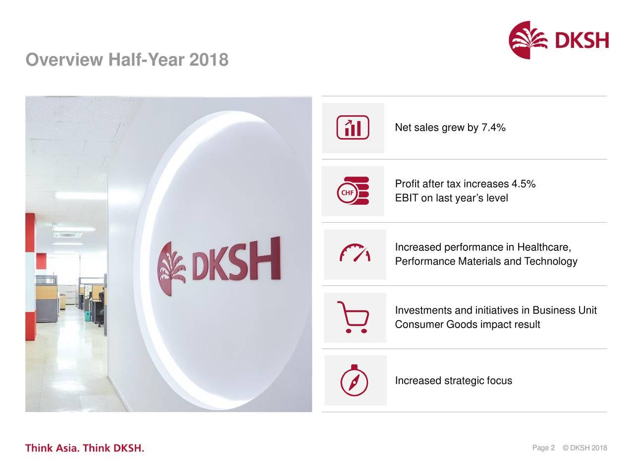 DKSH Holdings Ltd  ADR 2018 Q2 - Results - Earnings Call