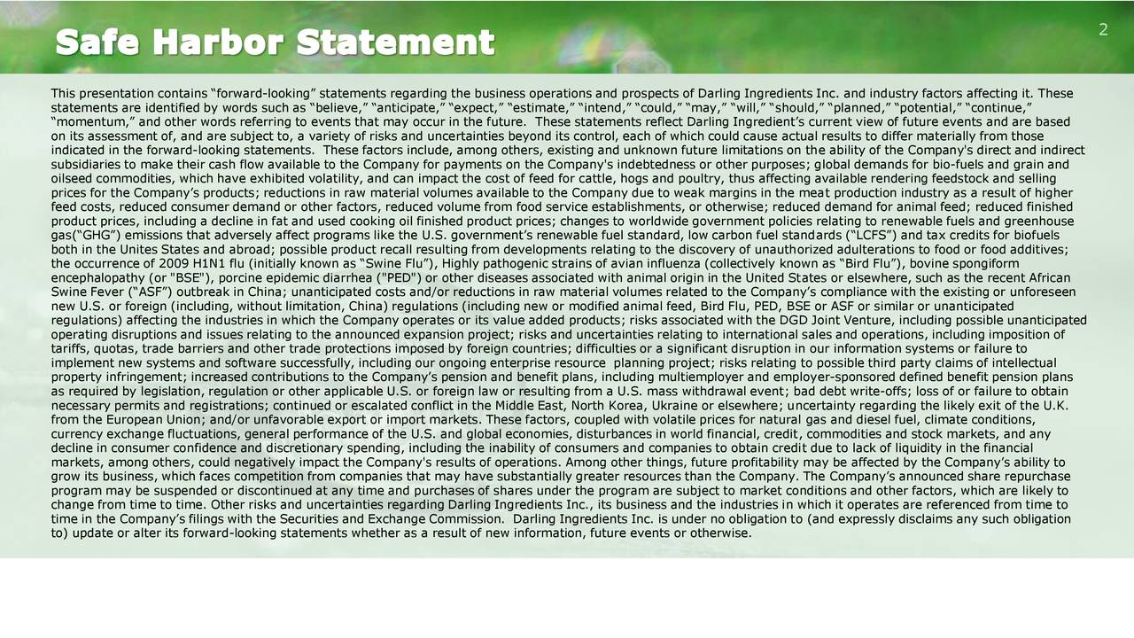"""This presentation contains """"forward-looking"""" statements regarding the business operations and prospects of Darling Ingredients Inc. and industry factors affecting it. These statements are identified by words such as """"believe,"""" """"anticipate,"""" """"expect,"""" """"estimate,"""" """"intend,"""" """"could,"""" """"may,"""" """"will,"""" """"should,"""" """"planned,"""" """"potential,"""" """"continue,"""" """"momentum,"""" and other words referring to events that may occur in the future. These statements reflect Darling Ingredient's current view of future events and are based on its assessment of, and are subject to, a variety of risks and uncertainties beyond its control, each of which could cause actual results to differ materially from those indicated in the forward-looking statements. These factors include, among others, existing and unknown future limitations on the ability of the Company's direct and indirect subsidiaries to make their cash flow available to the Company for payments on the Company's indebtedness or other purposes; global demands for bio-fuels and grain and oilseed commodities, which have exhibited volatility, and can impact the cost of feed for cattle, hogs and poultry, thus affecting available rendering feedstock and selling prices for the Company's products; reductions in raw material volumes available to the Company due to weak margins in the meat production industry as a result of higher feed costs, reduced consumer demand or other factors, reduced volume from food service establishments, or otherwise; reduced demand for animal feed; reduced finished product prices, including a decline in fat and used cooking oil finished product prices; changes to worldwide government policies relating to renewable fuels and greenhouse gas(""""GHG"""") emissions that adversely affect programs like the U.S. government's renewable fuel standard, low carbon fuel standards (""""LCFS"""") and tax credits for biofuels both in the Unites States and abroad; possible product recall resulting from developments relating to the discovery of unauthor"""