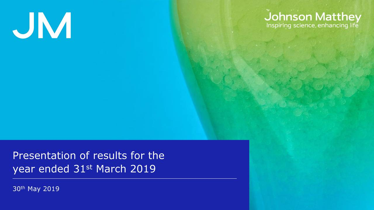 Johnson Matthey Plc 2019 Q4 - Results - Earnings Call Slides