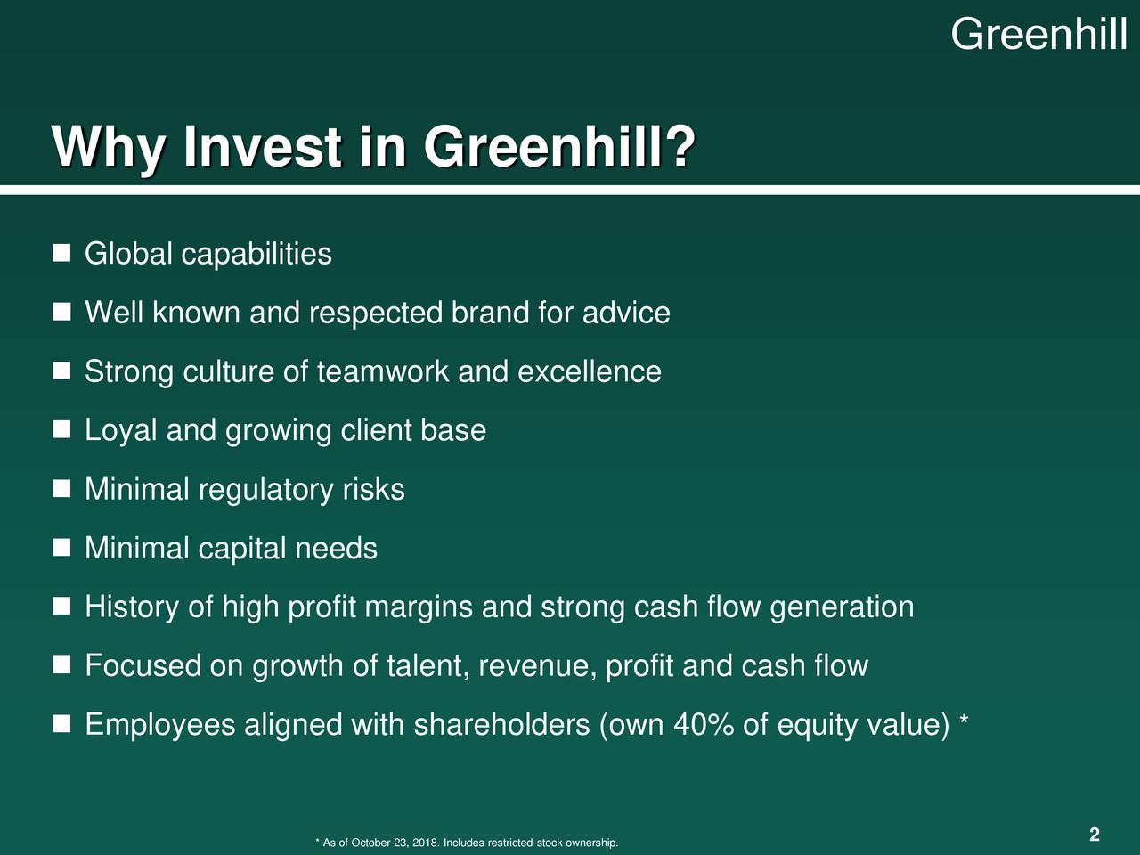 Why Invest in Greenhill?  Global capabilities  Well known and respected brand for advice  Strong culture of teamwork and excellence  Loyal and growing client base  Minimal regulatory risks  Minimal capital needs  History of high profit margins and strong cash flow generation  Focused on growth of talent, revenue, profit and cash flow  Employees aligned with shareholders (own 40% of equity value) *