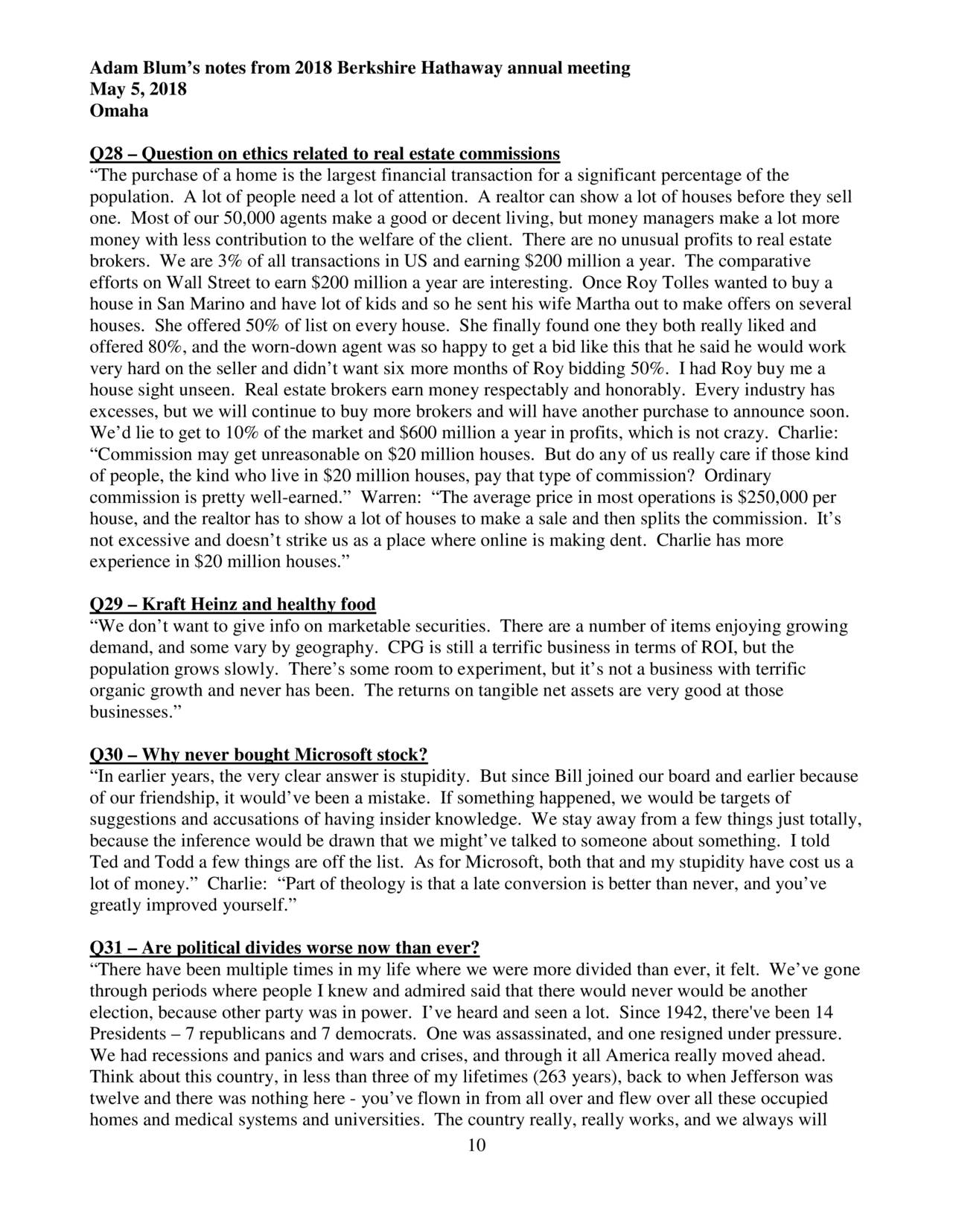Berkshire Hathaway 2018 Annual Meeting - In-Depth Notes ...