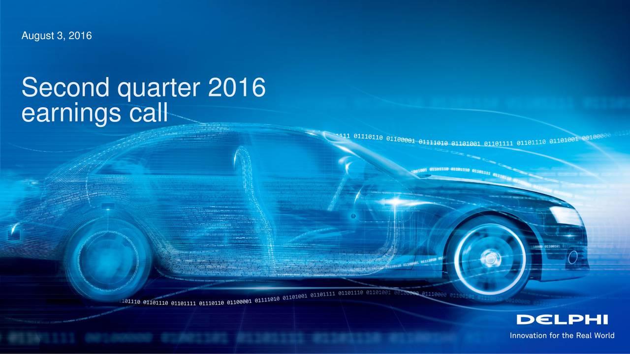 Second quarter 2016 earnings call