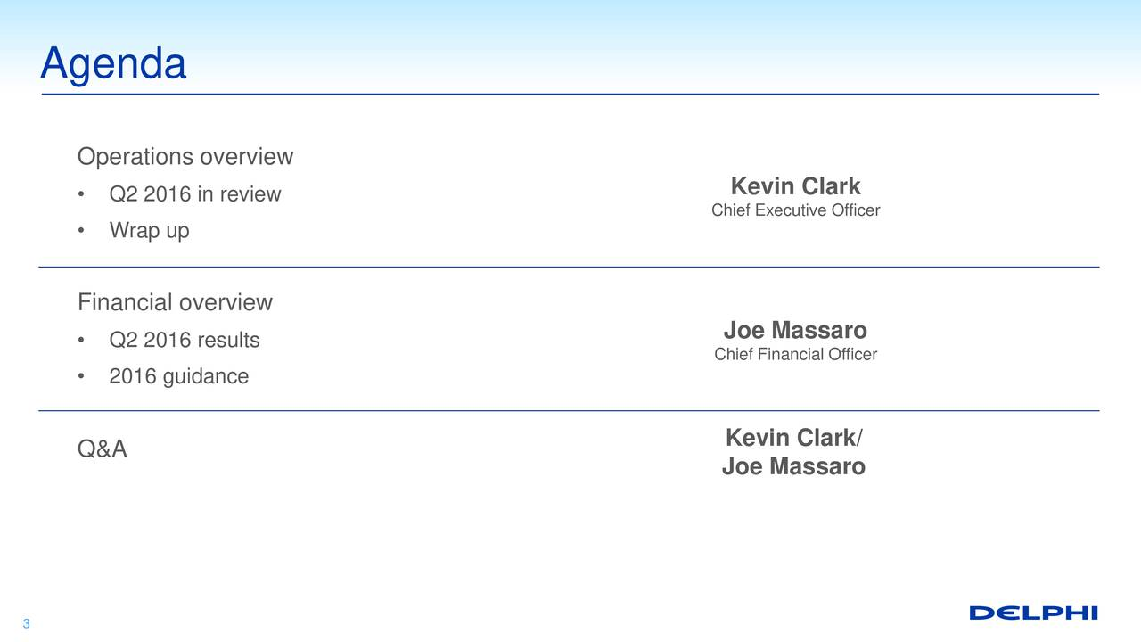 Operations overview Kevin Clark Q2 2016 in review Chief Executive Officer Wrap up Financial overview Q2 2016 results Joe Massaro Chief Financial Officer 2016 guidance Kevin Clark/ Q&A Joe Massaro 3