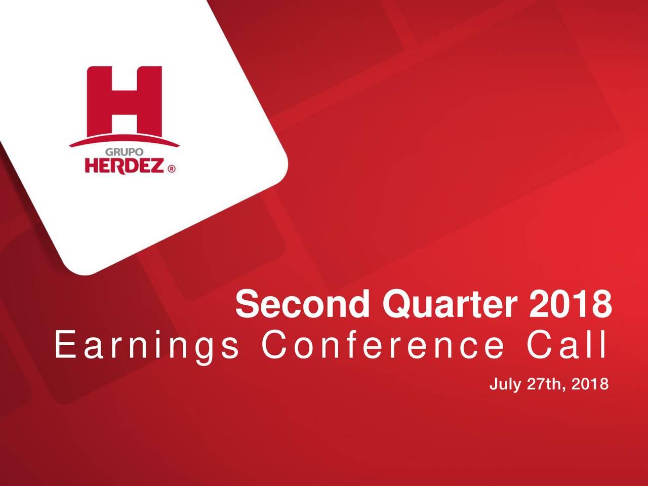 Earnings Disclaimer >> Grupo Herdez, S.A.B. DE C.V. ADR 2018 Q2 - Results - Earnings Call Slides - Grupo Herdez, S.A.B ...
