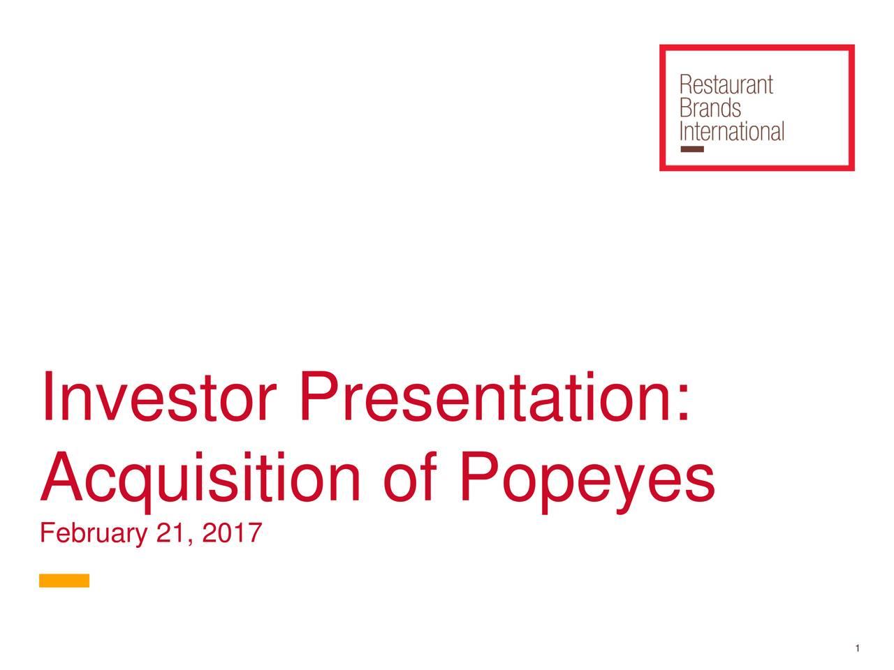 Restaurant Brands International Acquires Popeyes Louisiana Kitchen ...