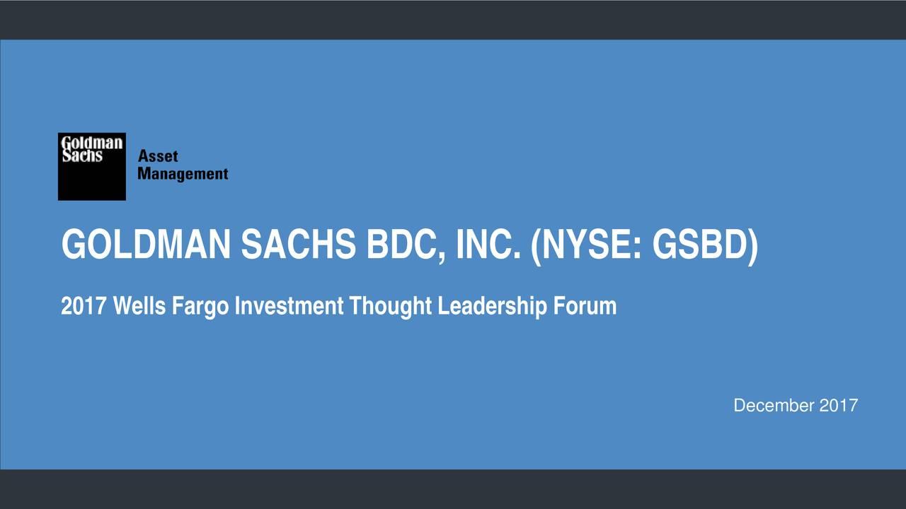 Goldman Sachs BDC (GSBD) Presents At Wells Fargo Investment