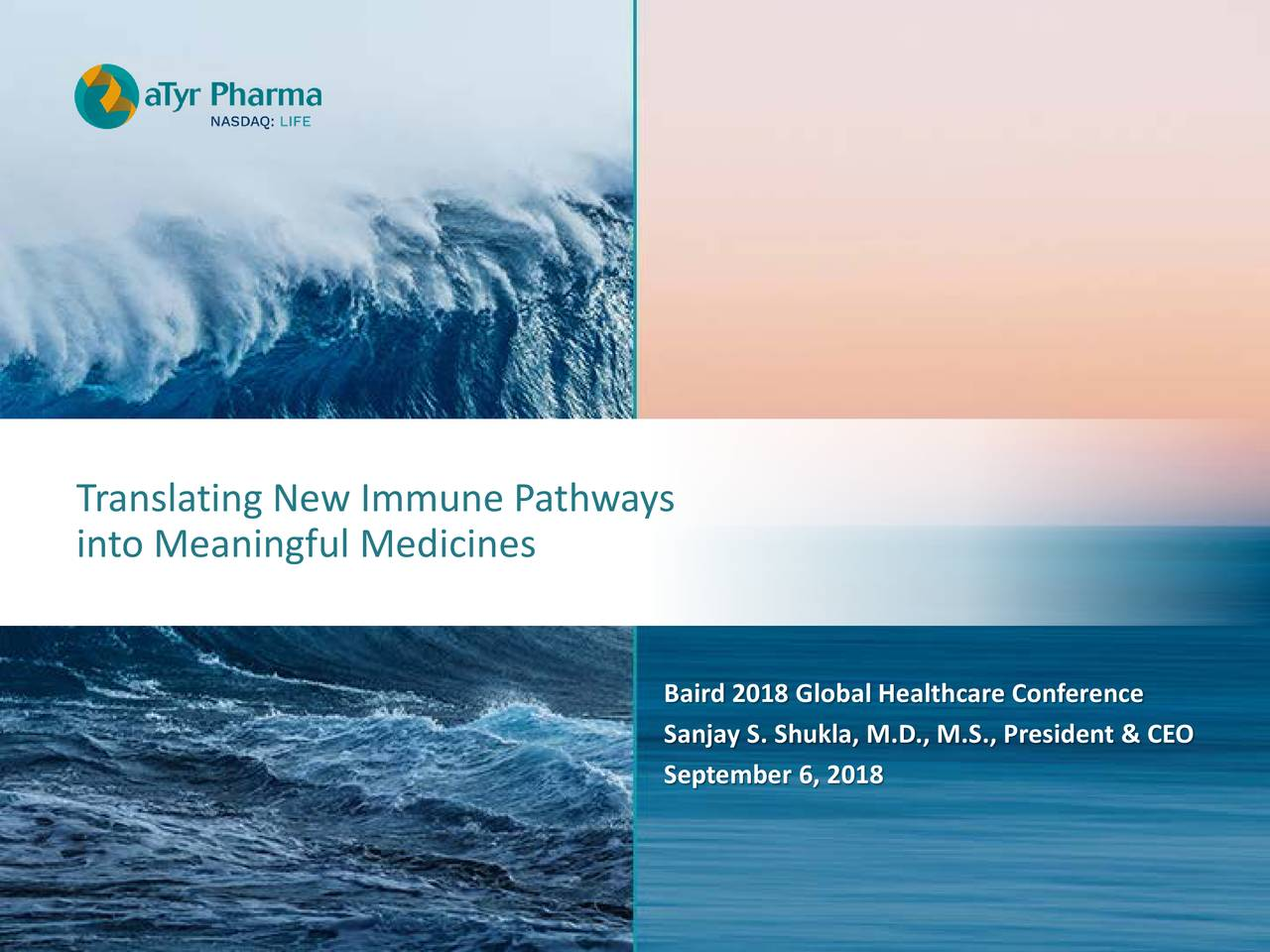 into Meaningful Medicines Baird 2018 Global Healthcare Conference Sanjay S. Shukla, M.D., M.S., President & CEO September 6, 2018