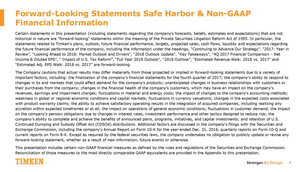 """Financial Information Certain statements in this presentation (including statements regarding the company's forecasts, beliefs, estimates and expectations) that are not historical in nature are """"forward-looking"""" statements within the meaning of the Private Securities Litigation Reform Act of 1995. In particular, the statements related to Timken's plans, outlook, future financial performance, targets, projected sales, cash flows, liquidity and expectations regarding the future financial performance of the company, including the information under the headings, """"Continuing to Advance Our Strategy"""", """"2017: Year in Review"""", """"Looking Ahead to 2018: Market Outlook and Drivers"""", """"2018 Outlook Update"""", """"Key Takeaways"""", """"4Q 2017 Financial Comparison – Net Income & Diluted EPS"""", """" Impact of U.S. Tax Reform"""", """"Full Year 2018 Outlook"""", """"2018 Outlook"""", """"Estimated Revenue Walk: 2018 vs. 2017"""" and """"Estimated Adj. EPS Walk: 2018 vs. 2017"""" are forward-looking. The Company cautions that actual results may differ materially from those projected or implied in forward-looking statements due to a variety of important factors, including: the finalization of the company's financial statements for the fourth quarter of 2017; the company's ability to respond to changes in its end markets that could affect demand for the company's products; unanticipated changes in business relationships with customers or their purchases from the company; changes in the financial health of the company's customers, which may have an impact on the company's revenues, earnings and impairment charges; fluctuations in material and energy costs; the impact of changes to the company's accounting methods; weakness in global or regional economic conditions and capital markets; fluctuations in currency valuations; changes in the expected costs associated with product warranty claims; the ability to achieve satisfactory operating results in the integration of acquired companies, including realizing any accretion within e"""