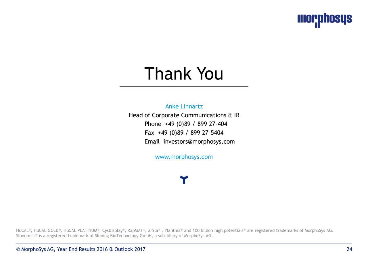 MorphoSys AG 2016 Q4 - Results - Earnings Call Slides