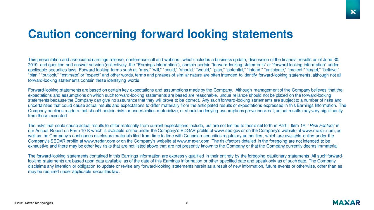 Caution concerning forward looking statements
