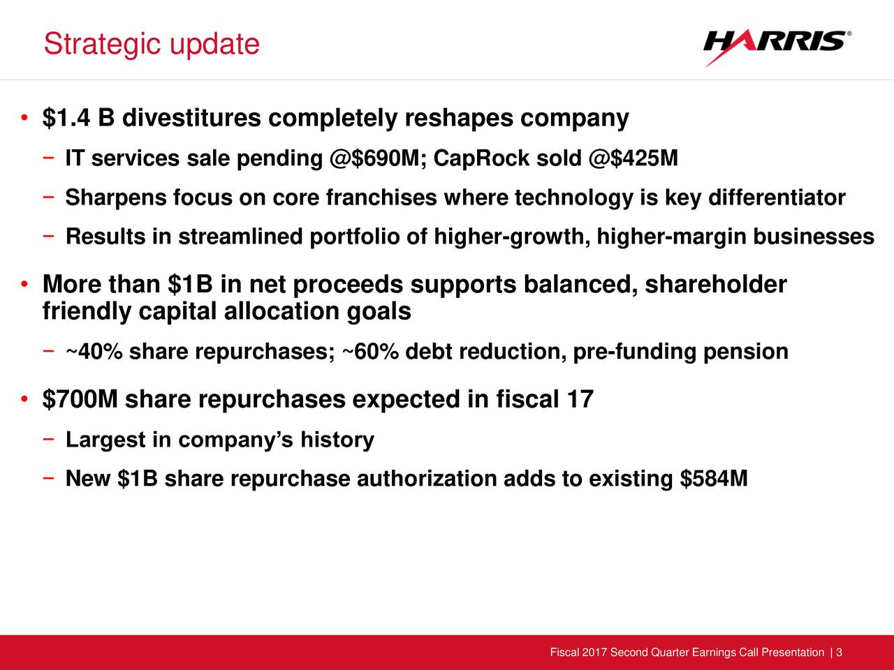 $1.4 B divestitures completely reshapes company IT services sale pending @$690M; CapRock sold @$425M Sharpens focus on core franchises where technology is key differentiator Results in streamlined portfolio of higher-growth, higher-margin businesses More than $1B in net proceeds supports balanced, shareholder friendly capital allocation goals ~40% share repurchases; ~60% debt reduction, pre-funding pension $700M share repurchases expected in fiscal 17 Largest in companys history New $1B share repurchase authorization adds to existing $584M Fiscal 2017 Second Quarter Earnings Call Presentation | 3