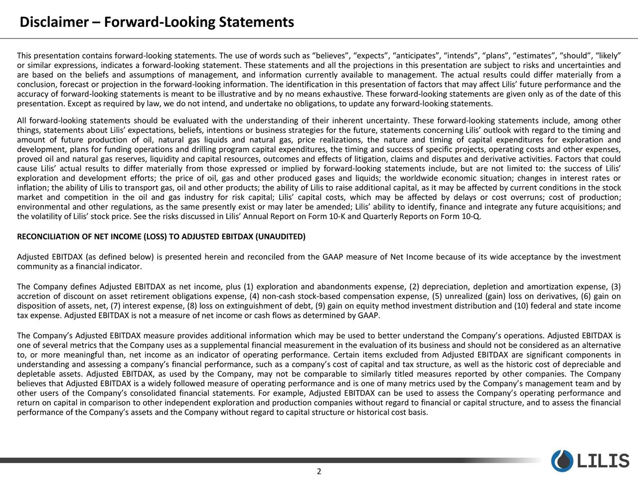 Disclaimer – Forward-Looking Statements