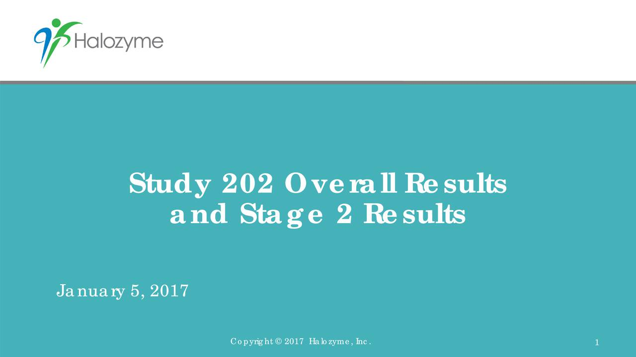 and Stage 2 Results January 5, 2017 Copyright  2017 Halozyme, Inc. 1