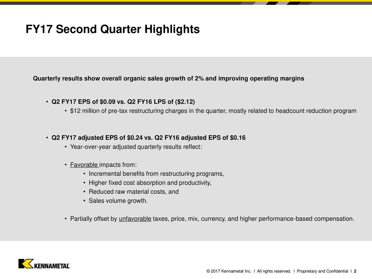 Quarterly results show overall organic sales growth of 2% and improving operating margins Q2 FY17 EPS of $0.09 vs. Q2 FY16 LPS of ($2.12) $12 million of pre-tax restructuring charges in the quarter, mostly related to headcount reduction program Q2 FY17 adjusted EPS of $0.24 vs. Q2 FY16 adjusted EPS of $0.16 Year-over-year adjusted quarterly results reflect: Favorable impacts from: Incremental benefits from restructuring programs, Higher fixed cost absorption and productivity, Reduced raw material costs, and Sales volume growth. Partially offset by unfavorable taxes, price, mix, currency, and higher performance-based compensation. 2017 Kennametal Inc. l All rights reserved. l Proprietary and Confidential l 2